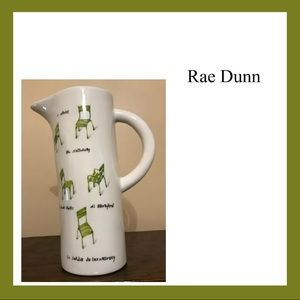 Rare Rae Dunn French Sketchbook Chairs Pitcher